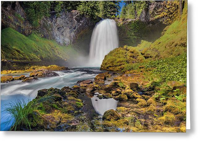Reflection Of Sahalie Falls Greeting Card by David Gn