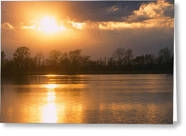 Reflection Of Sun In Water, West Greeting Card by Panoramic Images