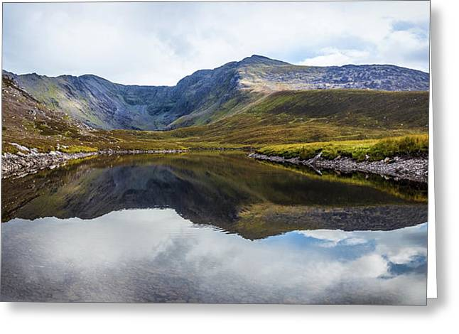 Reflection Of The Macgillycuddy's Reeks In Lough Eagher Greeting Card by Semmick Photo
