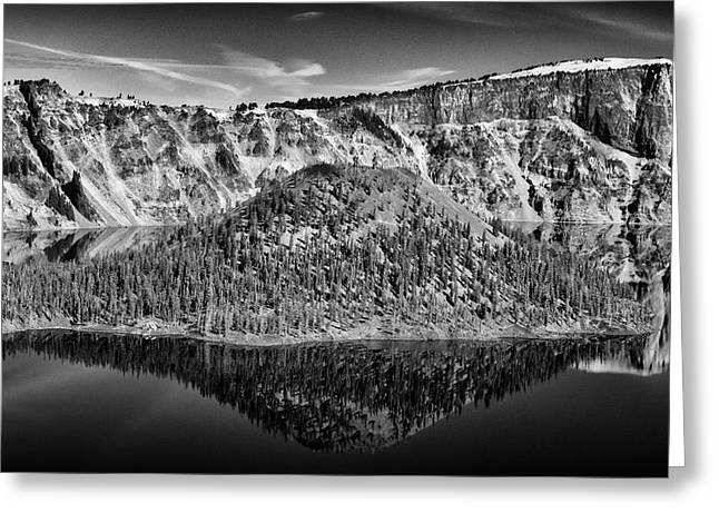 Reflection Of Wizard Island Crater Lake B W Greeting Card by Frank Wilson