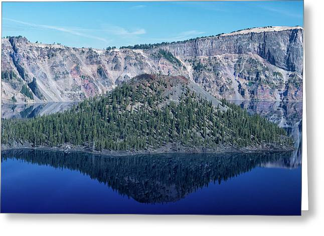Reflection Of Wizard Island Crater Lake Greeting Card by Frank Wilson