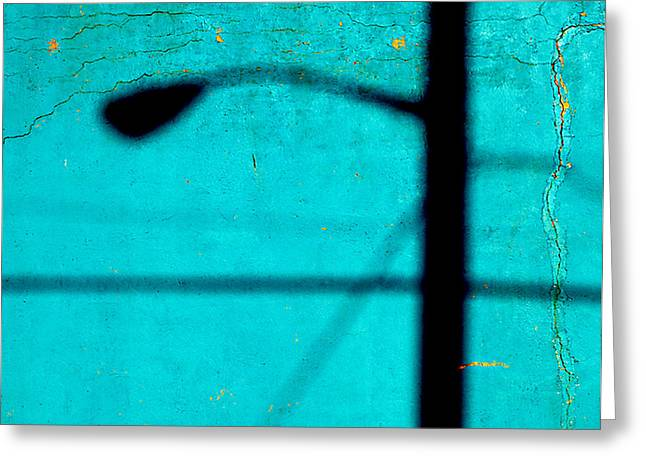 Reflection On A Blue Wall Greeting Card by JoAnn Lense