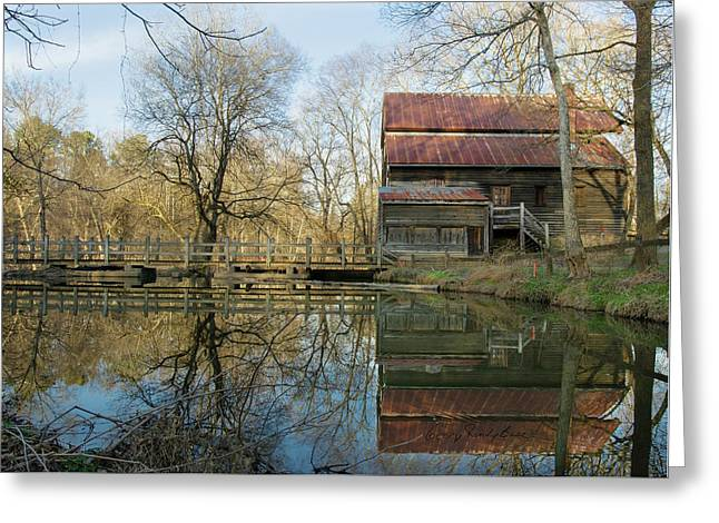 Reflection On A Grist Mill Greeting Card by George Randy Bass