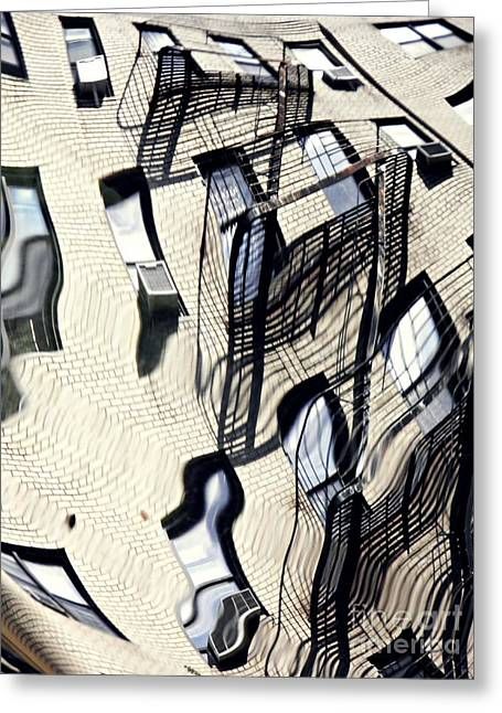 Reflection On A Parked Car 12 Greeting Card by Sarah Loft