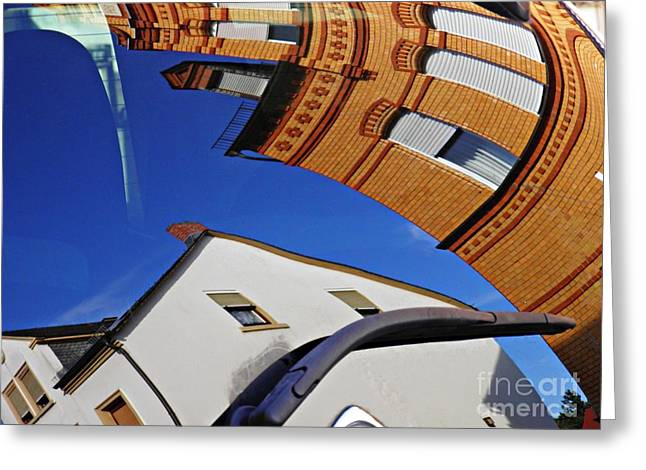 Reflection On A Parked Car 15 Greeting Card by Sarah Loft