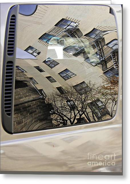 Reflection On A Parked Car 17   Greeting Card by Sarah Loft