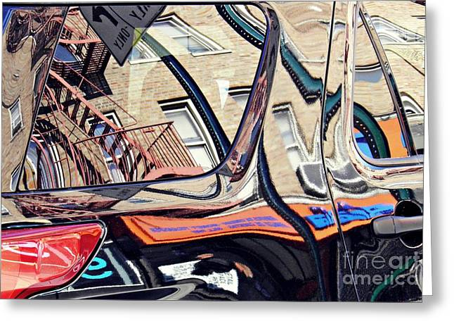 Reflection On A Parked Car 18 Greeting Card by Sarah Loft