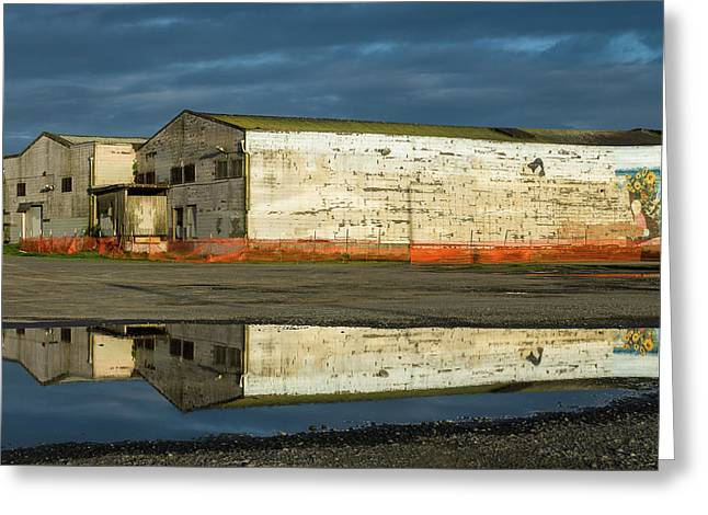 Reflection On Abandoned Building Greeting Card
