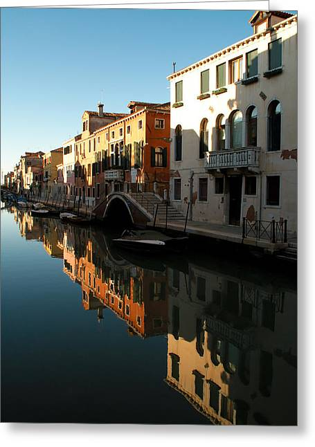 Reflection On The Cannaregio Canal In Venice Greeting Card by Michael Henderson