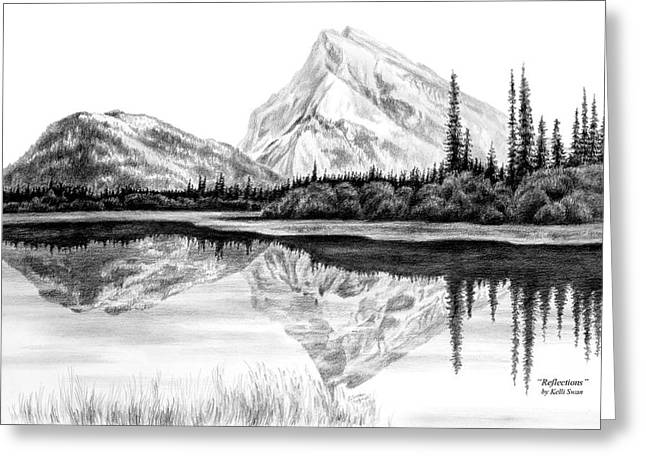 Landscapes Drawings Greeting Cards - Reflections - Mountain Landscape Print Greeting Card by Kelli Swan