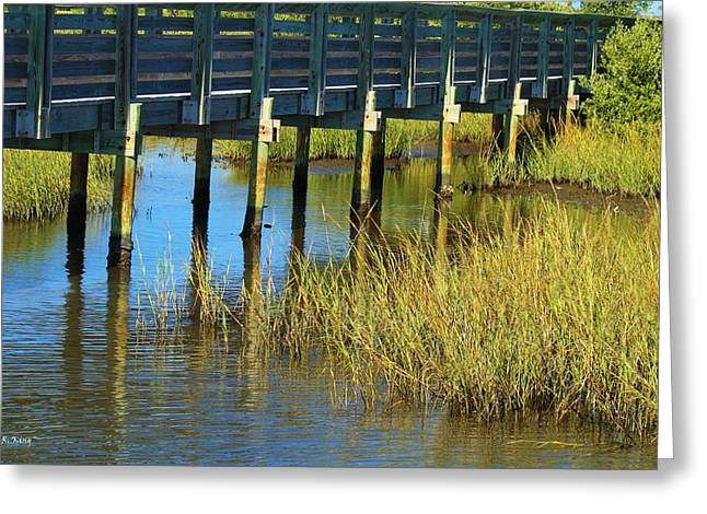 Reflections And Sea Grass Greeting Card by Roena King