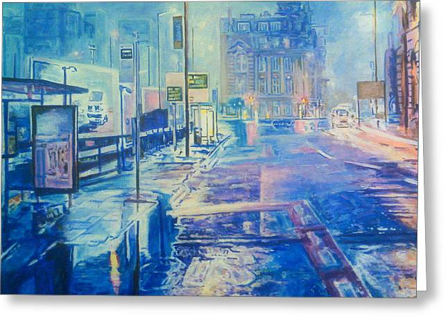 Reflections At Night In Manchester Greeting Card