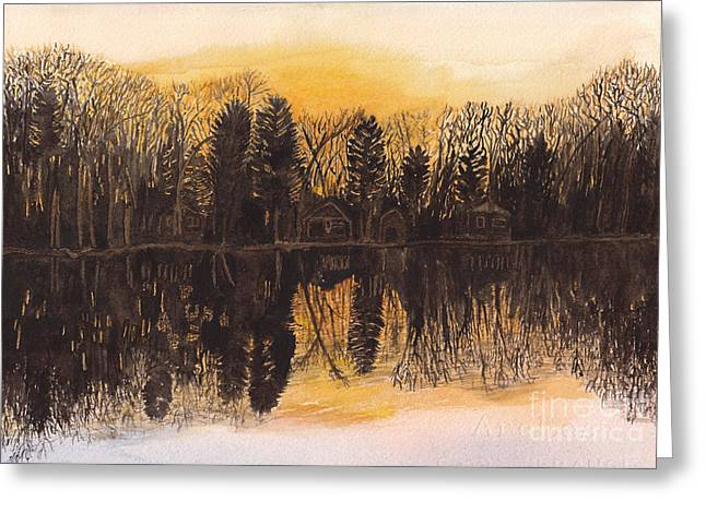 Reflections At Sunset On Bitely Lake Greeting Card