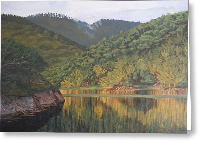 Reflections At The Dam Greeting Card by Anji Worton