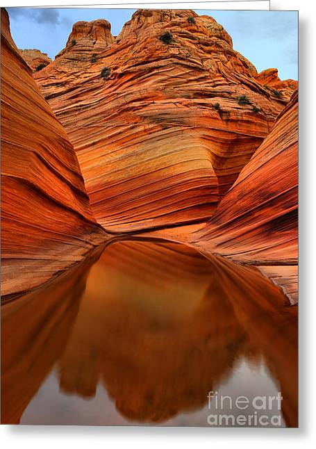 Reflections At The Wave Greeting Card by Adam Jewell