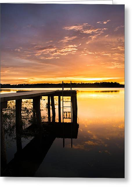 Reflections By The Dock Greeting Card by Parker Cunningham