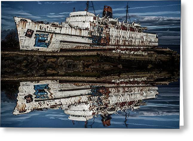 Reflections From The Duke Of Lancaster Ship  Greeting Card by Andrew White