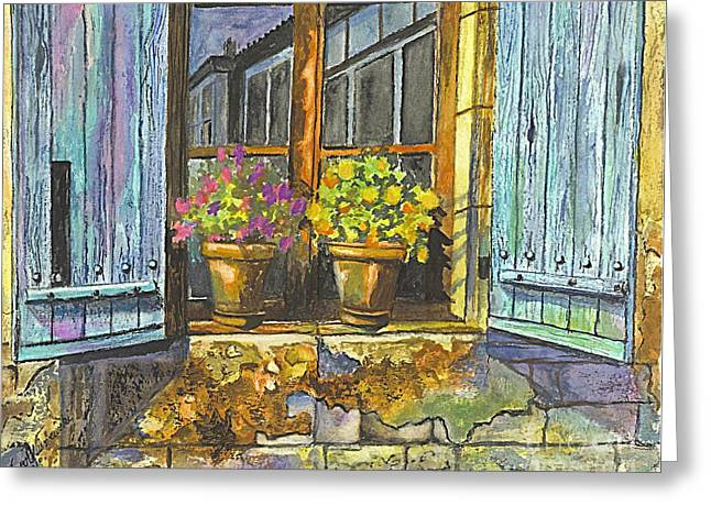 Reflections In A Window Greeting Card by Carol Wisniewski