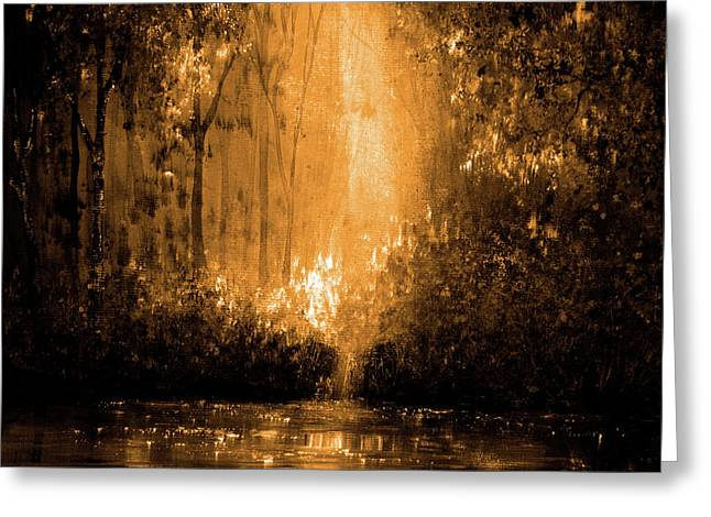 Reflections In Flame Greeting Card by Ann Marie Bone