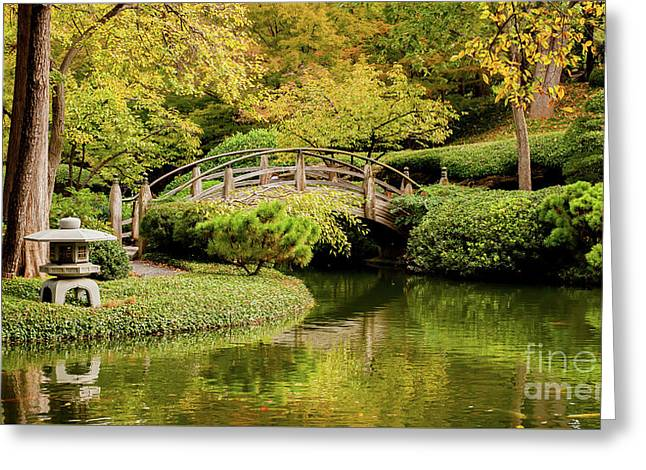 Greeting Card featuring the photograph Reflections In The Japanese Garden by Iris Greenwell