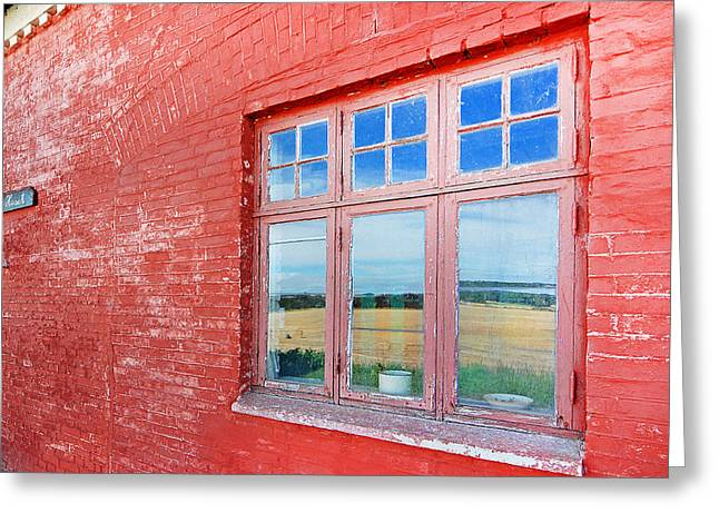 Reflections In The Old Mill House Window Greeting Card by Robert Lacy
