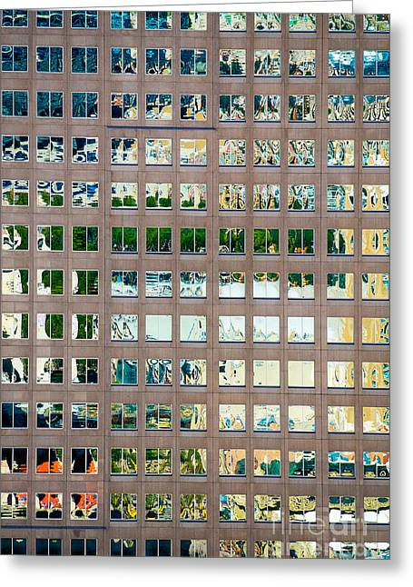Reflections In Windows Of Office Building Greeting Card