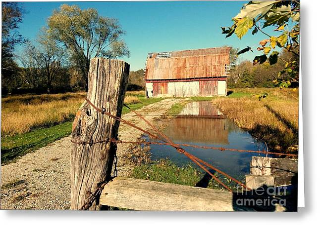 Reflections Of An Old Barn Brown County Indiana Greeting Card by Scott D Van Osdol