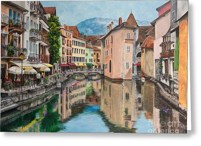 Stream Greeting Cards - Reflections Of Annecy Greeting Card by Charlotte Blanchard