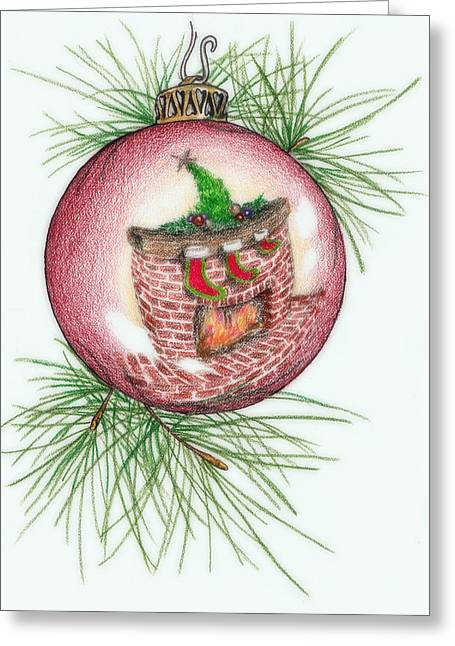 Pine Needles Drawings Greeting Cards - Reflections of Christmas Greeting Card by Theresa Higby