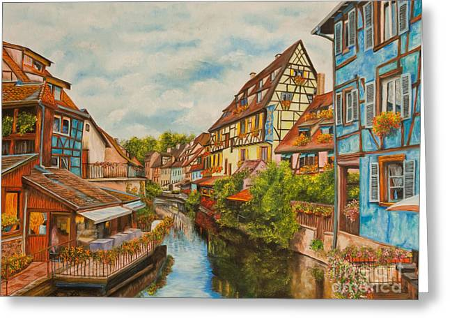 Reflections Of Colmar Greeting Card by Charlotte Blanchard