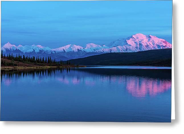 Sunset Reflections Of Denali In Wonder Lake Greeting Card