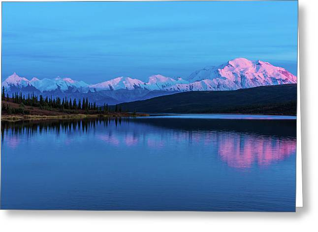 Sunset Reflections Of Denali In Wonder Lake Greeting Card