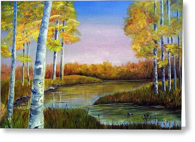 Greeting Card featuring the painting Reflections Of Fall by Anna-Maria Dickinson