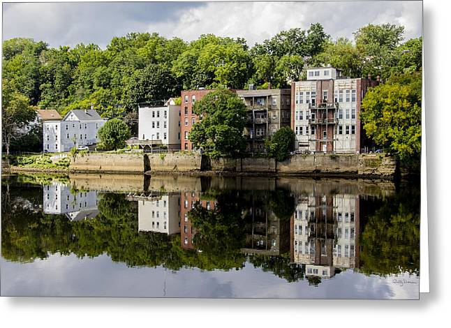 Reflections Of Haverhill On The Merrimack River Greeting Card