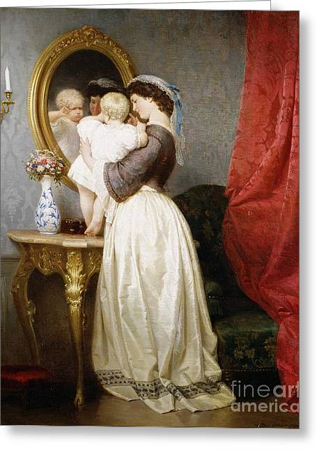 Caring Mother Paintings Greeting Cards - Reflections of Maternal Love Greeting Card by Robert Julius Beyschlag
