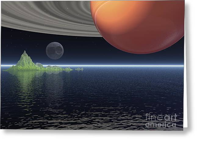 Greeting Card featuring the digital art Reflections Of Saturn by Phil Perkins