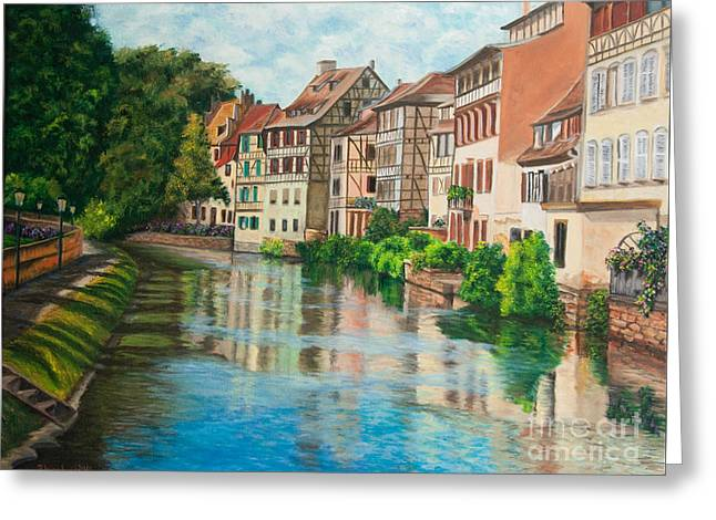 Reflections Of Strasbourg Greeting Card by Charlotte Blanchard