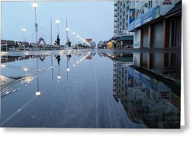 Reflections Of The Boardwalk Greeting Card