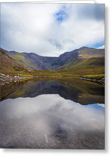 Greeting Card featuring the photograph Reflections Of The Macgillycuddy's Reeks In Lough Eagher by Semmick Photo