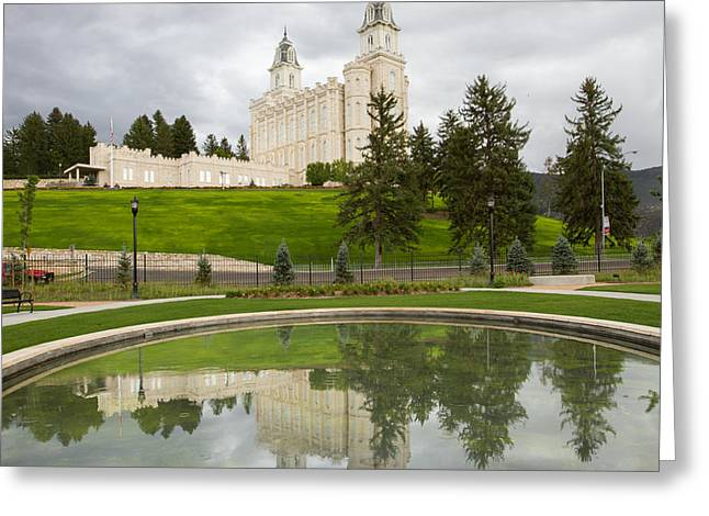 Reflections Of The Manti Temple At Pioneer Heritage Gardens Greeting Card