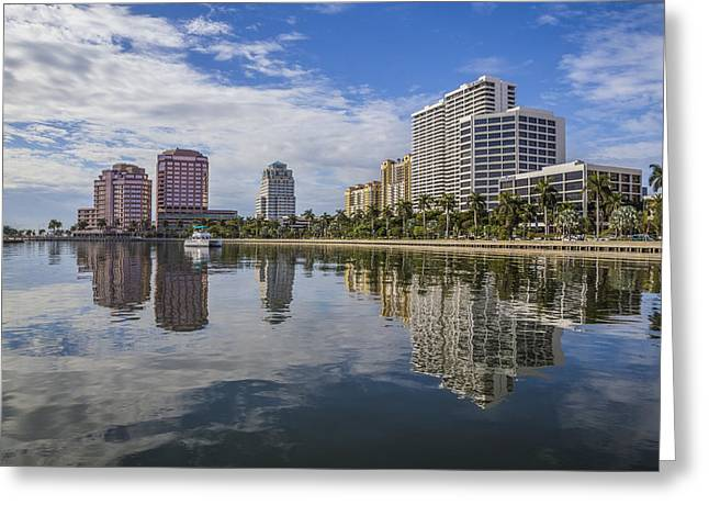 Reflections Of West Palm Beach Greeting Card by Debra and Dave Vanderlaan