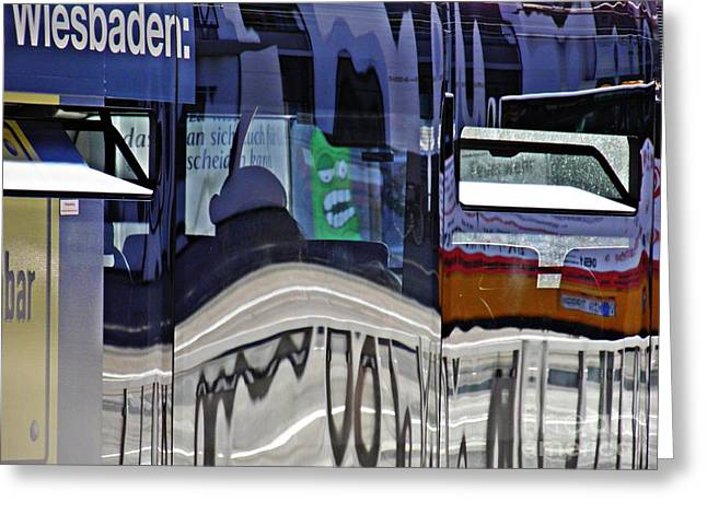 Reflections On  A Bus In Mainz 1  Greeting Card