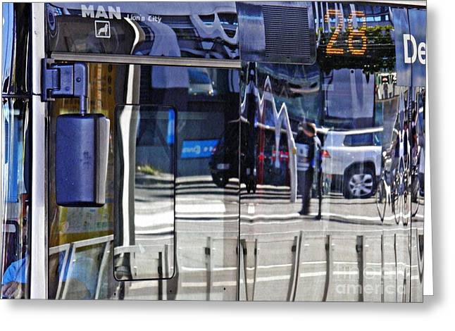 Reflections On  A Bus In Mainz 2 Greeting Card