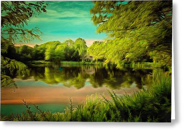 Reflections On A Pond Greeting Card by Anthony Caruso