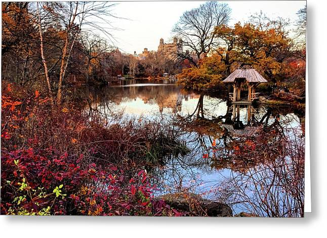 Reflections On A Winter Day - Central Park Greeting Card by Madeline Ellis