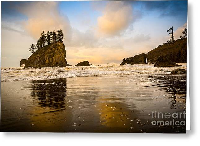 Reflections On Second Beach Greeting Card by Jamie Pham