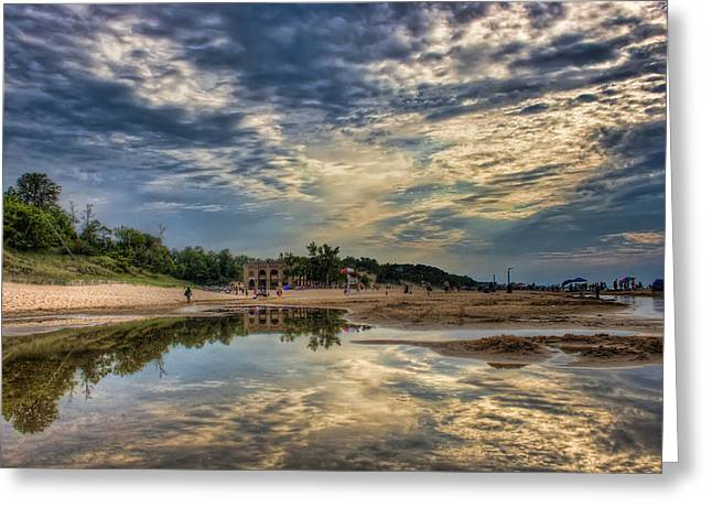 Indiana Dunes Greeting Cards - Reflections on the Beach Greeting Card by Scott Wood