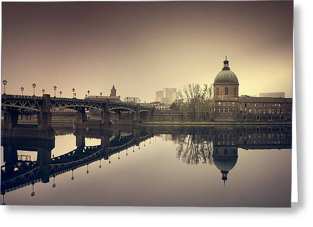 Reflections On The Garonne In Toulouse Greeting Card by Mickael PLICHARD