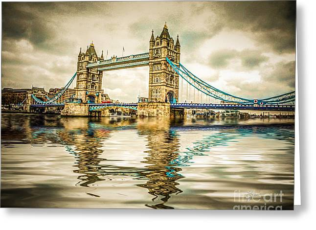 Reflections On Tower Bridge Greeting Card by TK Goforth