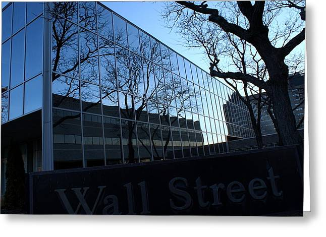 Reflections On Wall Street Greeting Card by Lois Lepisto